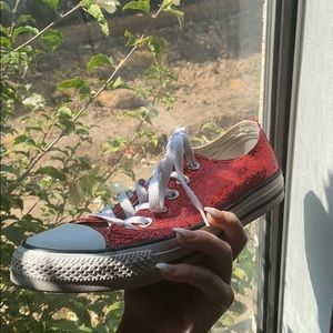 Womens Red Sparkly Sequin Converse Size 8